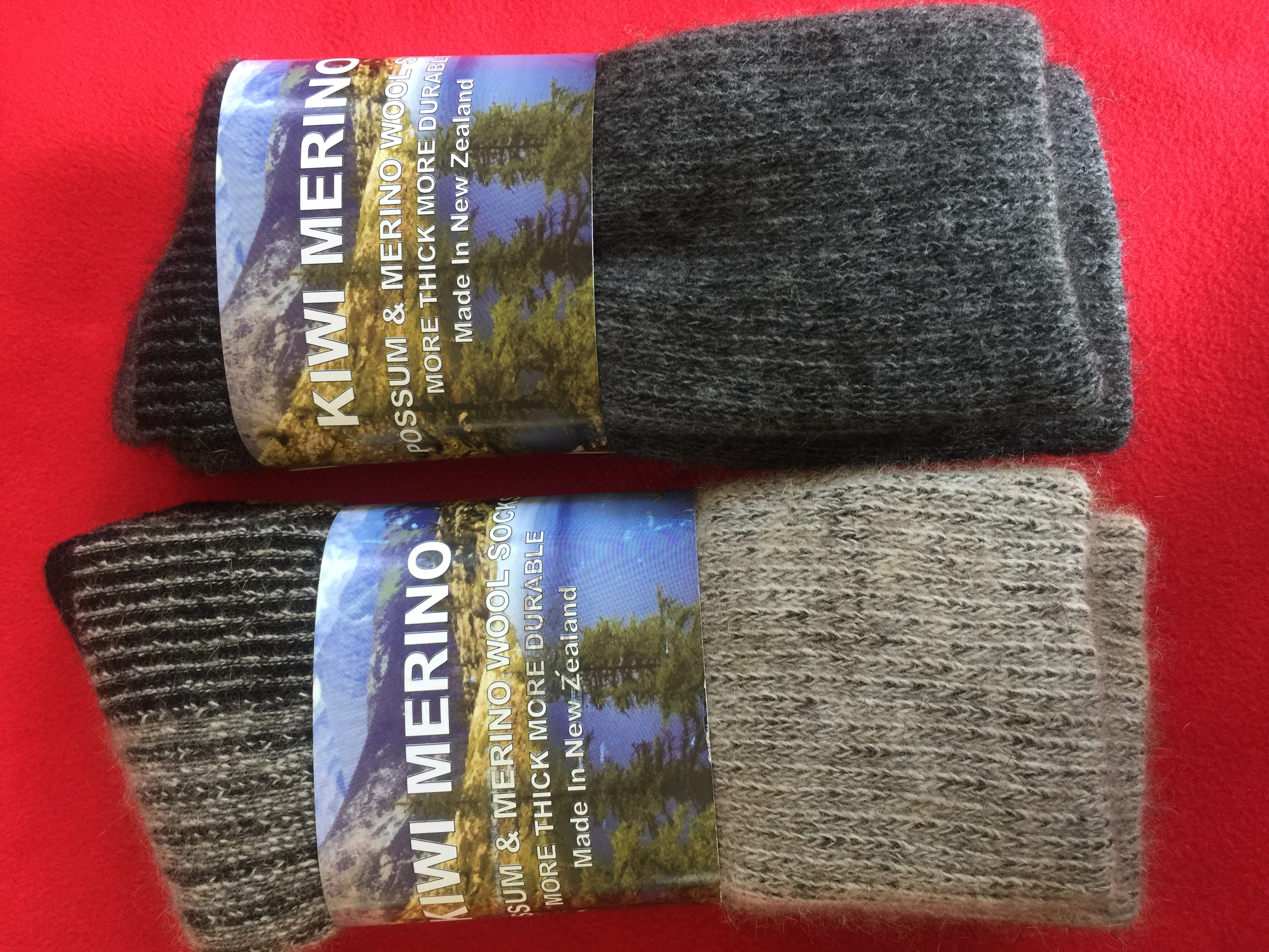 2 Pairs Possum and Merino Socks with Comfort Top