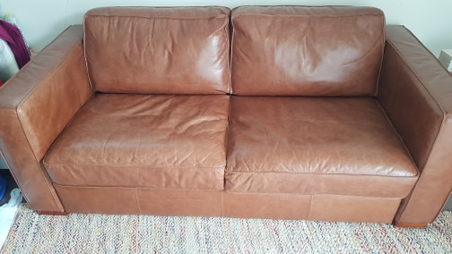 NickScali Tan leather sofa bed