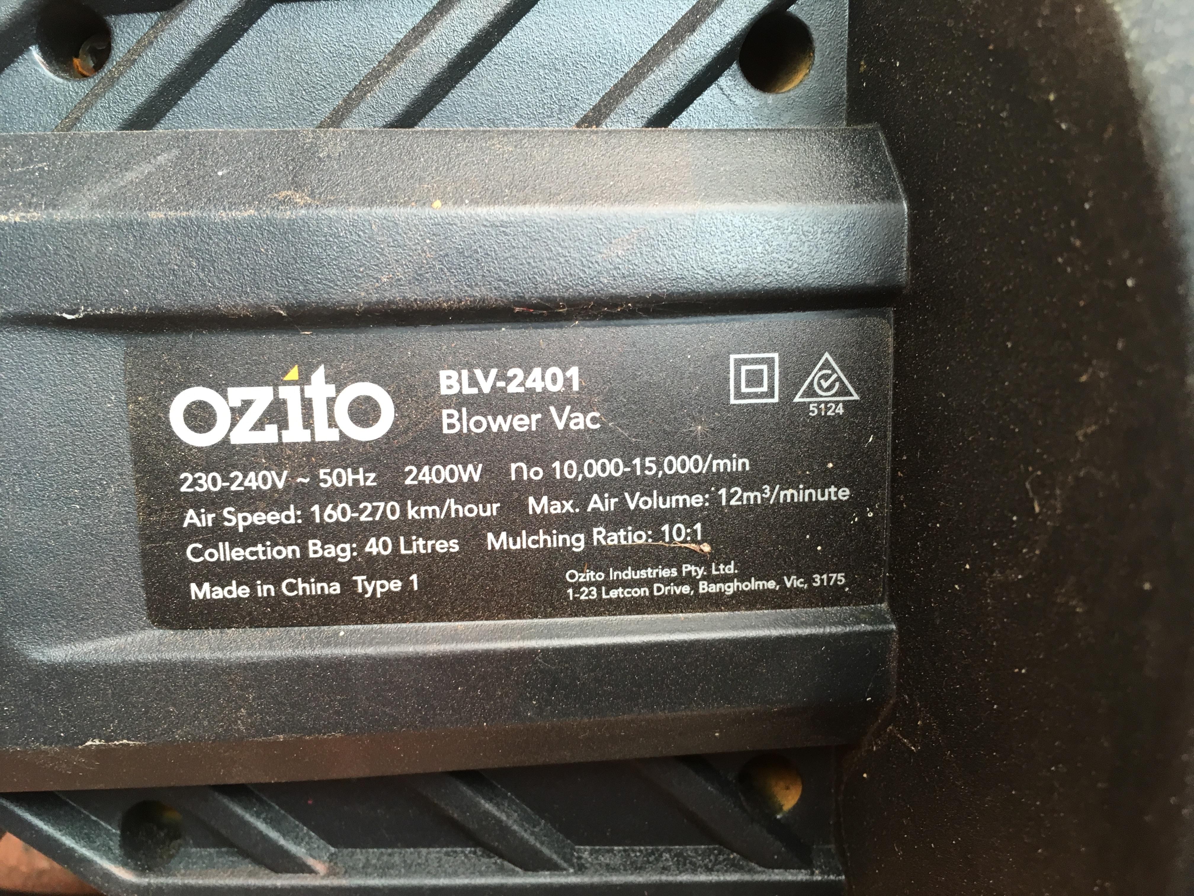 OZITO Leaf Blower Vac 2400 W Model BLV-2401