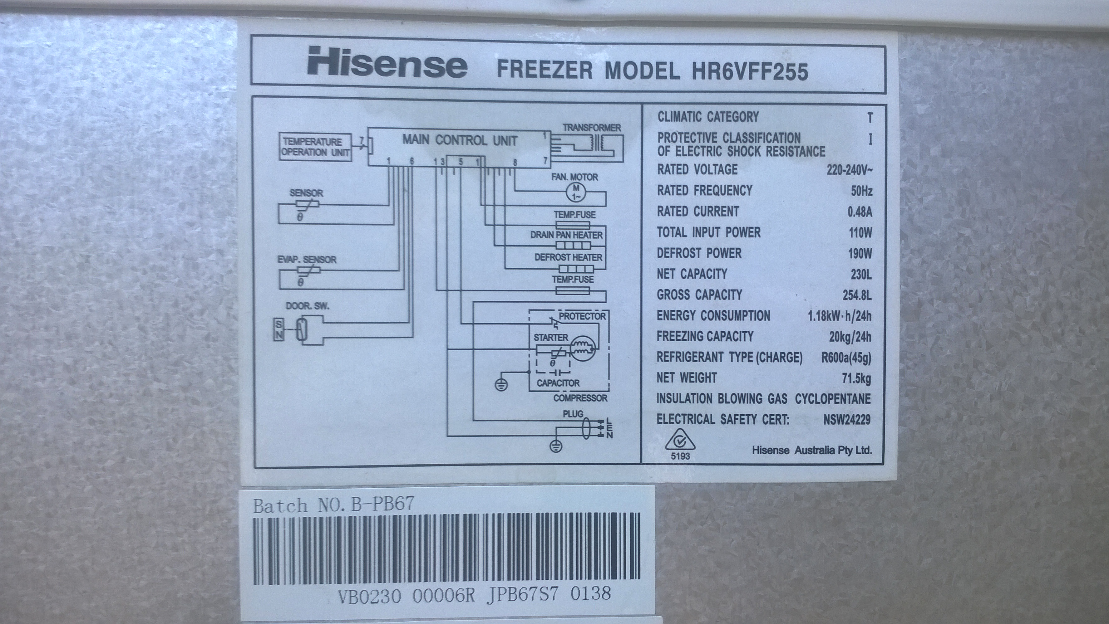 Hisense Freezer Model: HR6VFF255