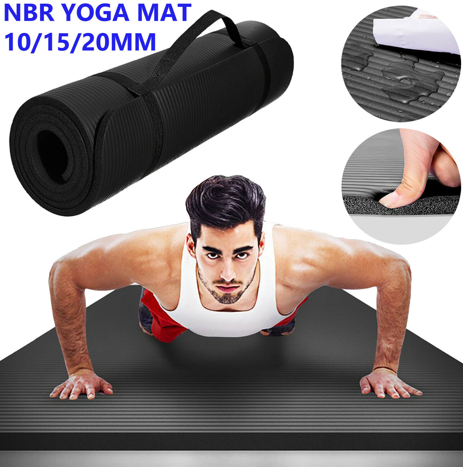 10 15 20MM Thick Yoga Mat Pad Non Slip Exercise Fitness Gym Pilates NBR Durable