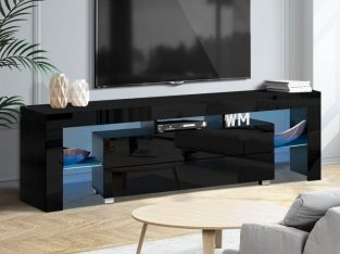 TV Cabinet Entertainment Unit Stand RGB LED Gloss Furniture 160cm Black
