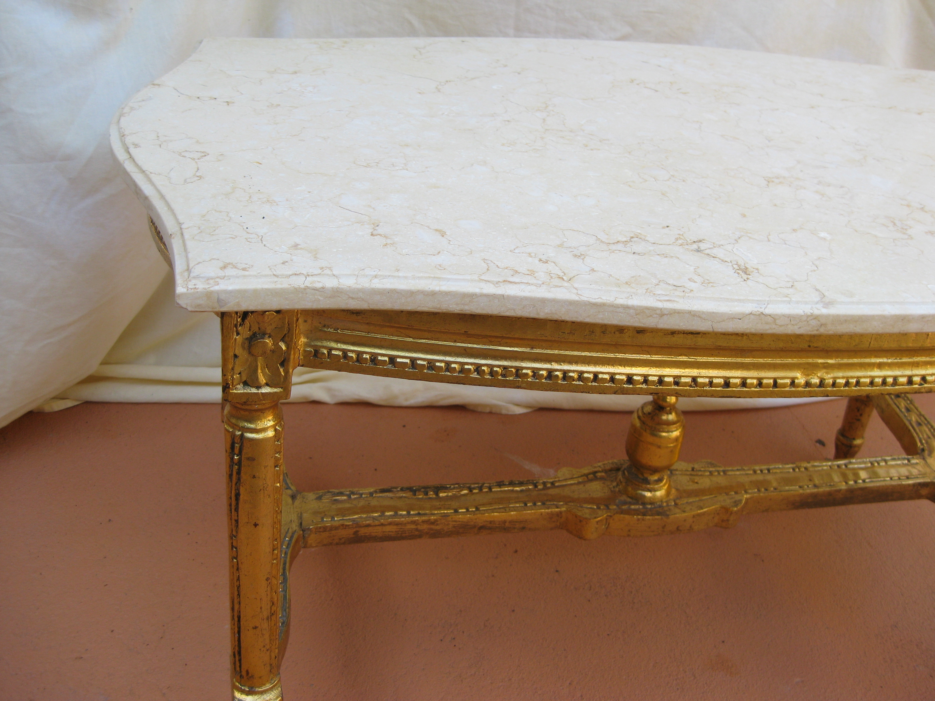 1 French Marble Gold Guild Coffee Table.