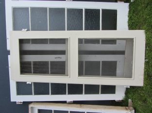 2x pair old glass door with sides and screen doors