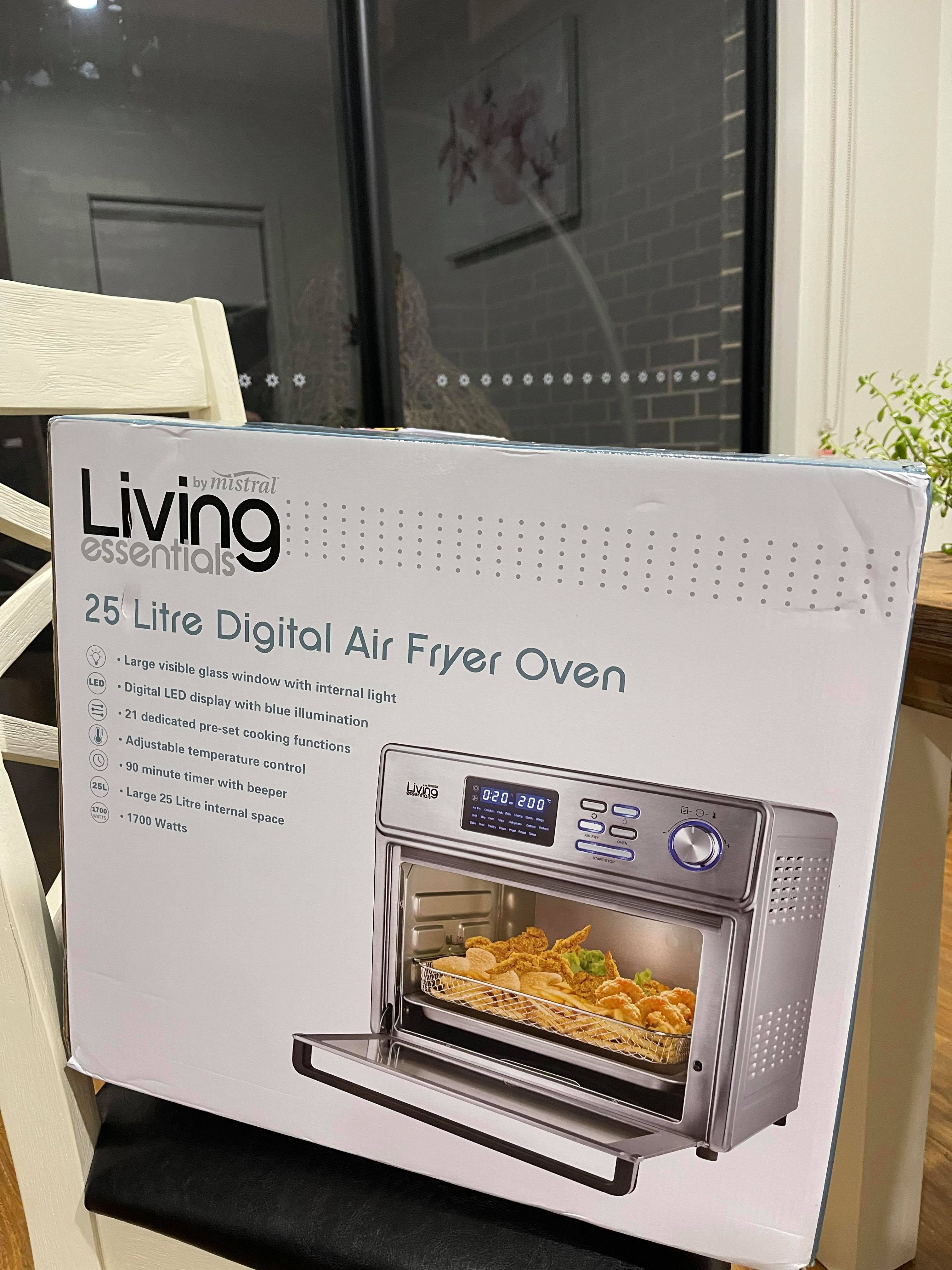 Living Essentials By Mistral 25L Digital Air Fryer Oven Stainless Steel